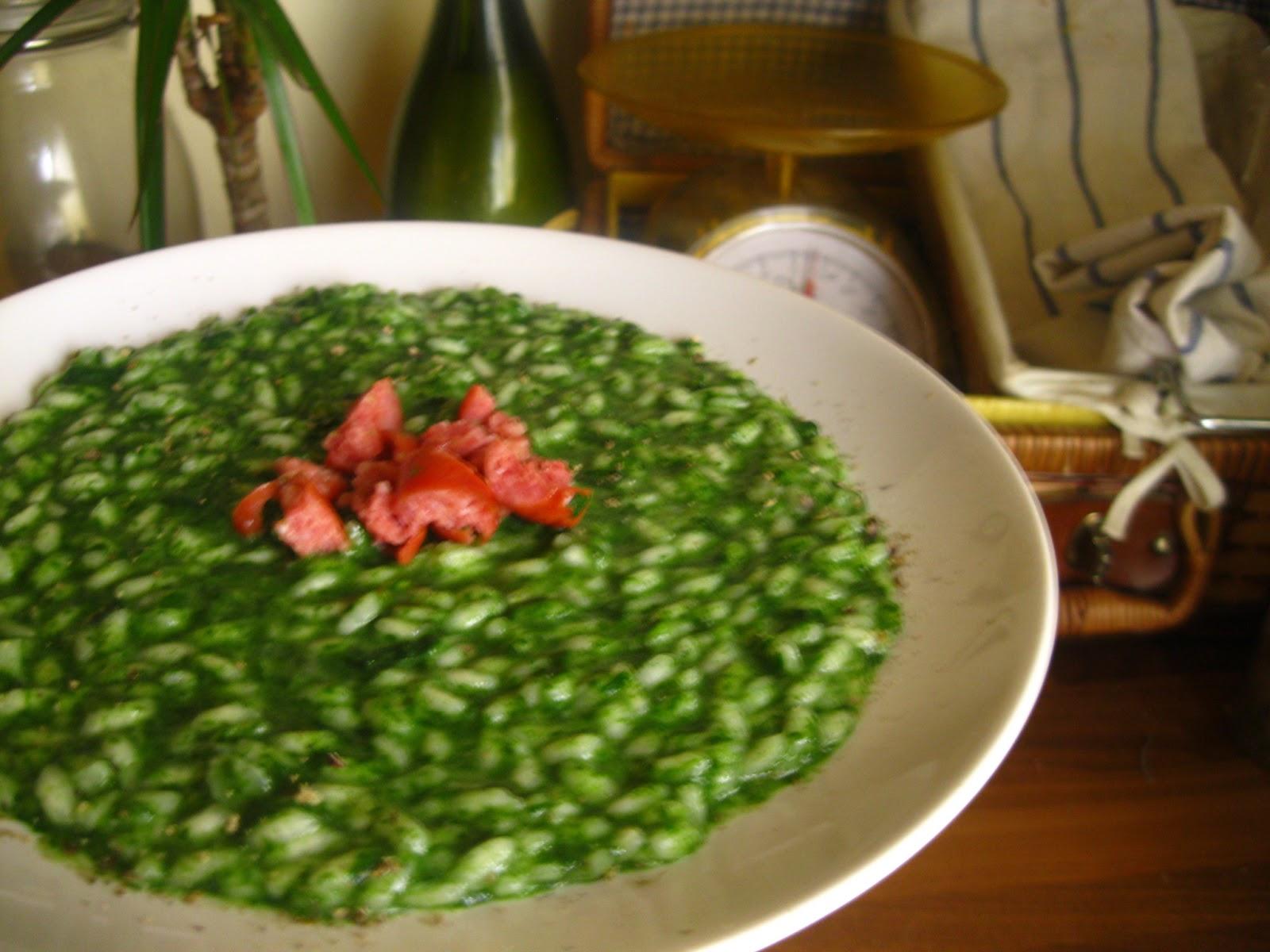 Risotto con spinaci e squacquerone