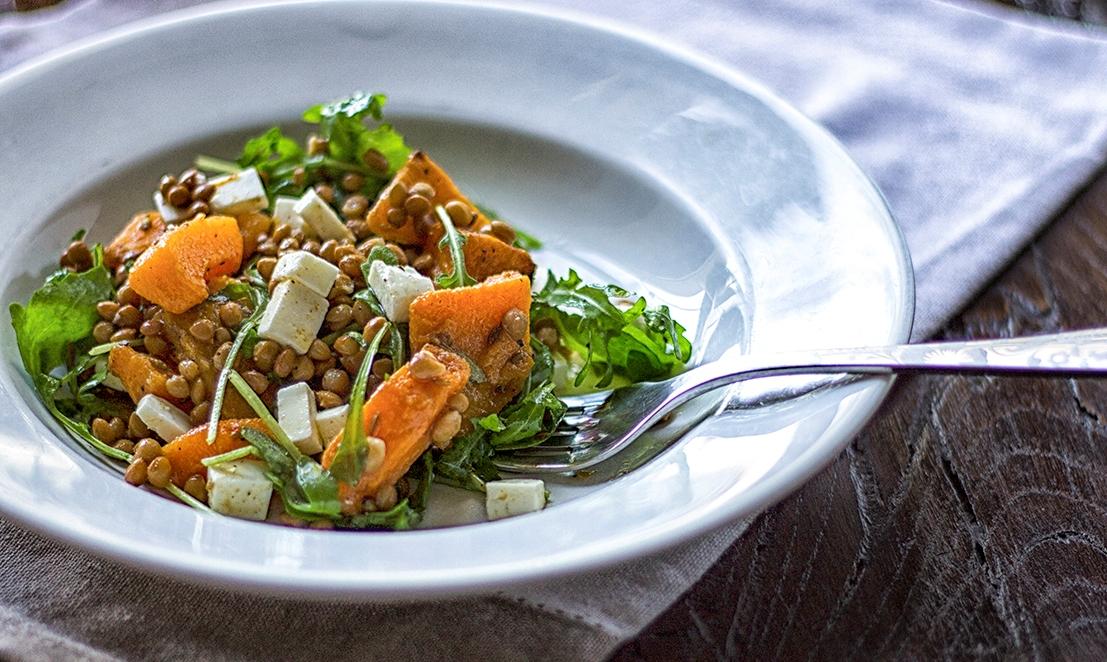Lenticchie in insalata con zucca
