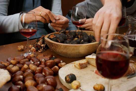 castagne secche al vino rosso preparazione