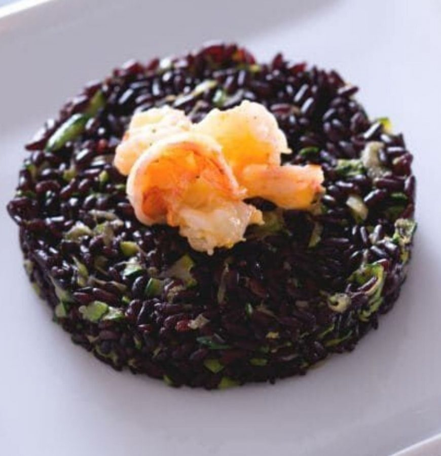 risotto con riso venere gamberetti