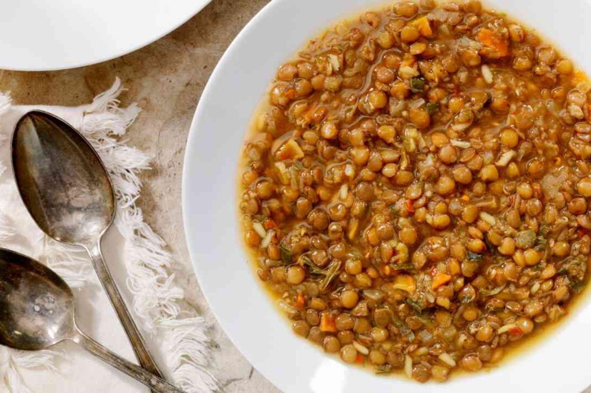 lenticchie stufate in bianco