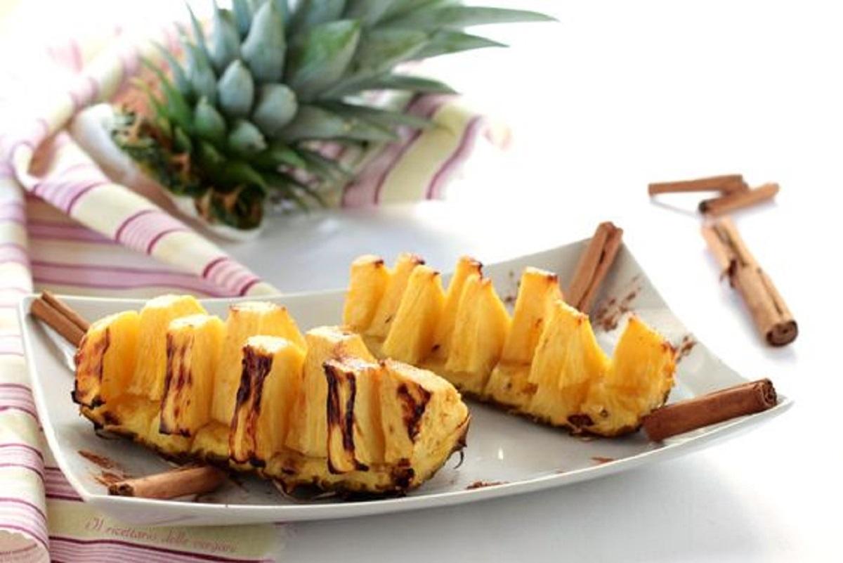 ananas grigliato con cannella (ricetta vegan)
