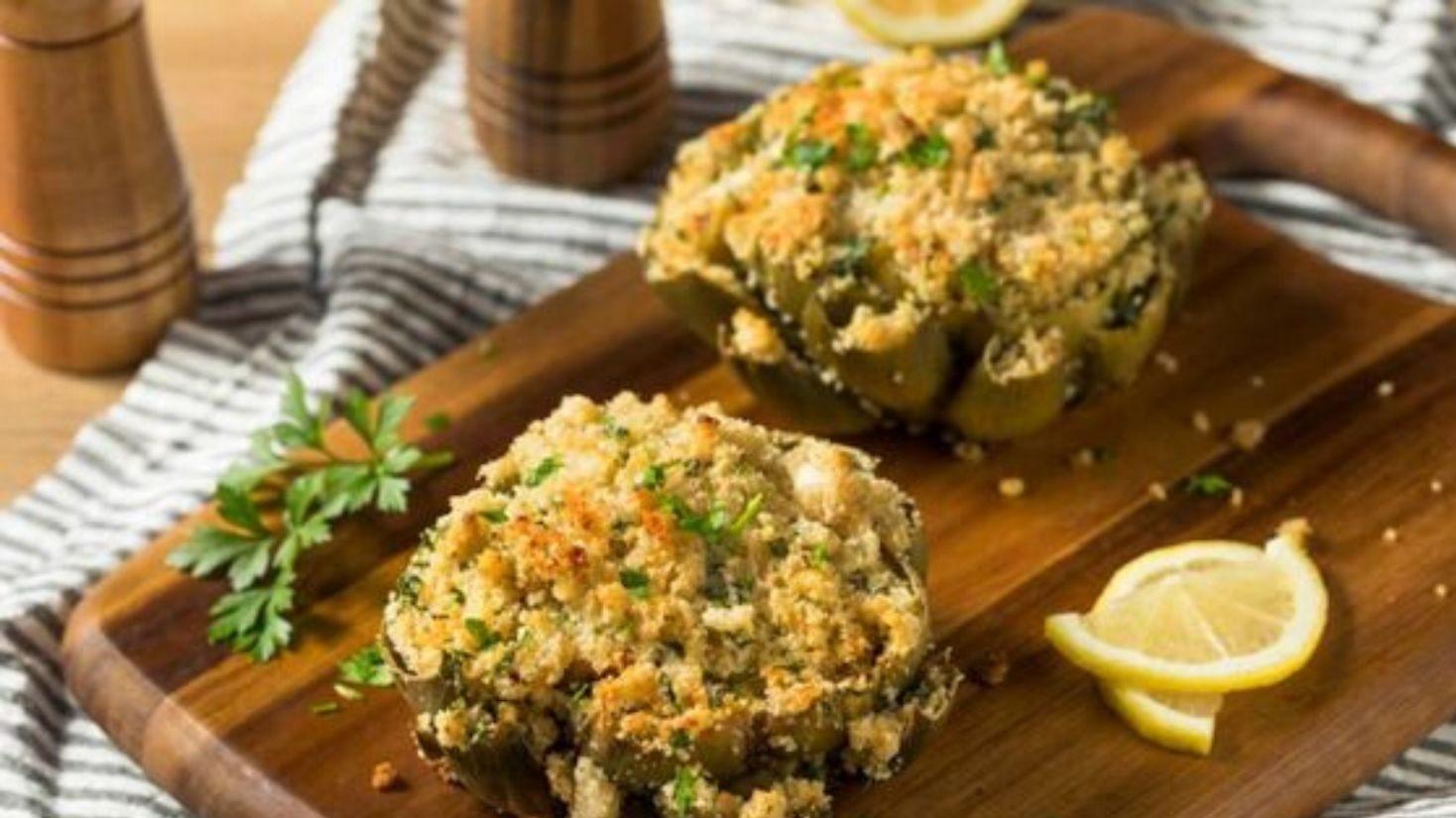 Carciofi ripieni al forno con patate