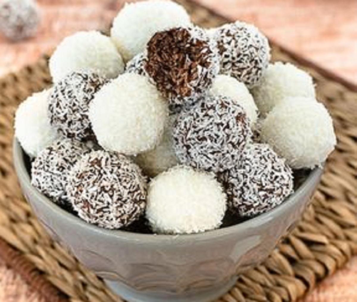 palline di ricotta al cocco e cacao