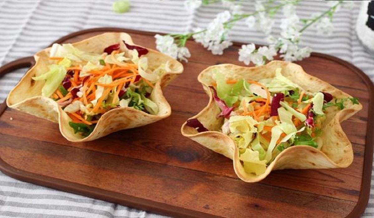 Cestini di piadina con tris di insalate