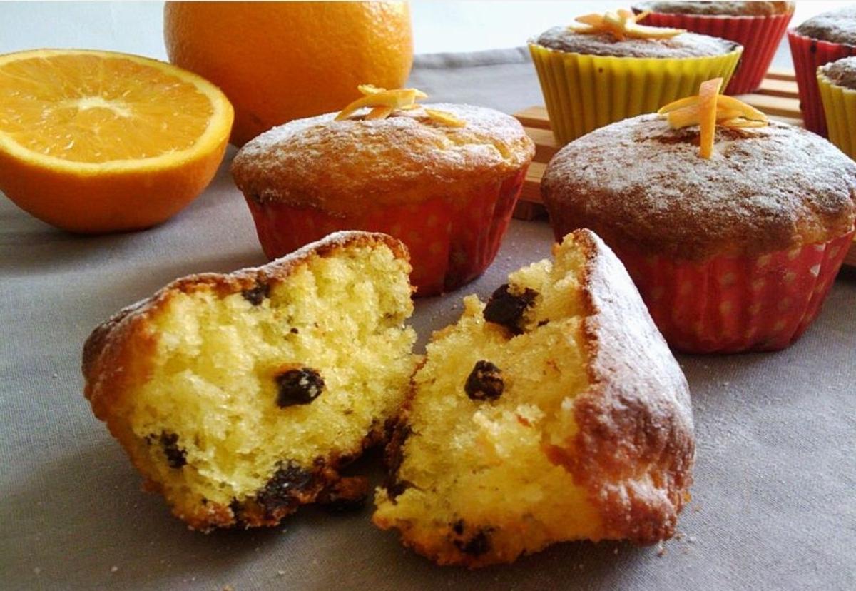 muffin all'arancia e cioccolato senza burro