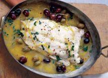 merluzzo con olive e capperi in bianco