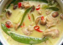 curry verde con gamberi