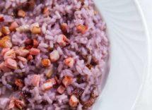 risotto con cavolfiore viola e salsiccia