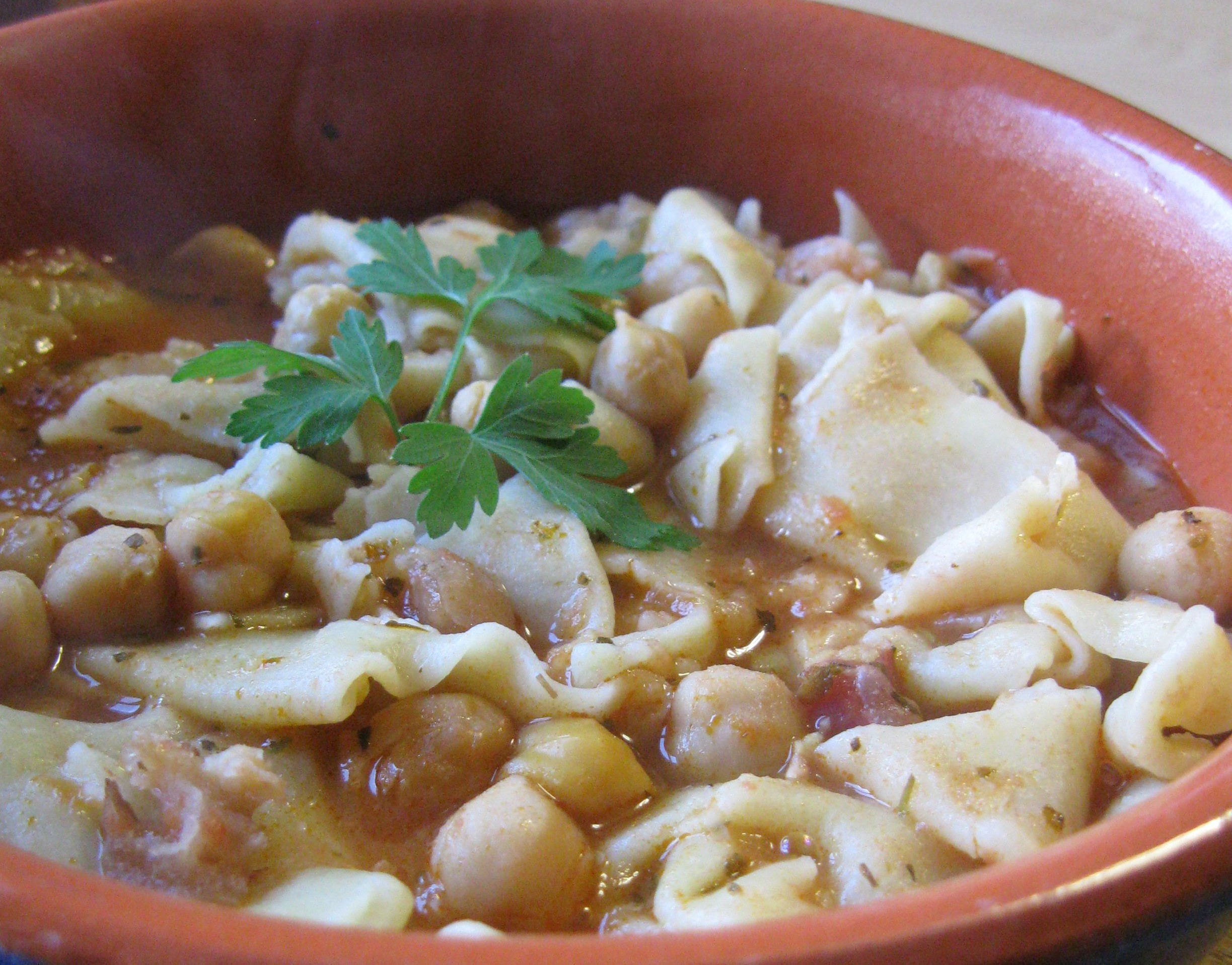 Maltagliati con fagioli e pancetta