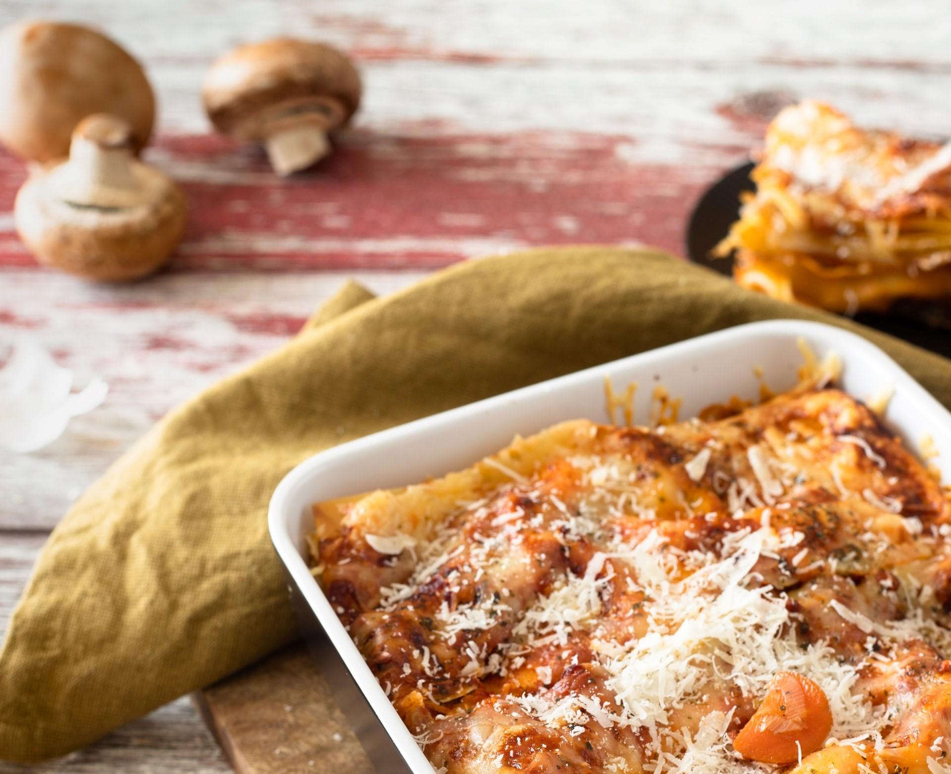 lasagne funghi scamorza e speck