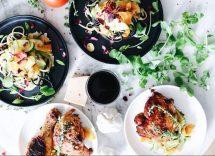 Insalata di pollo con pesche