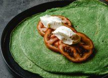 Pancake ricotta, spinaci e pomodoro