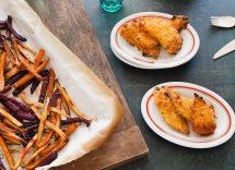 pollo piccante con patate dolci e broccoli
