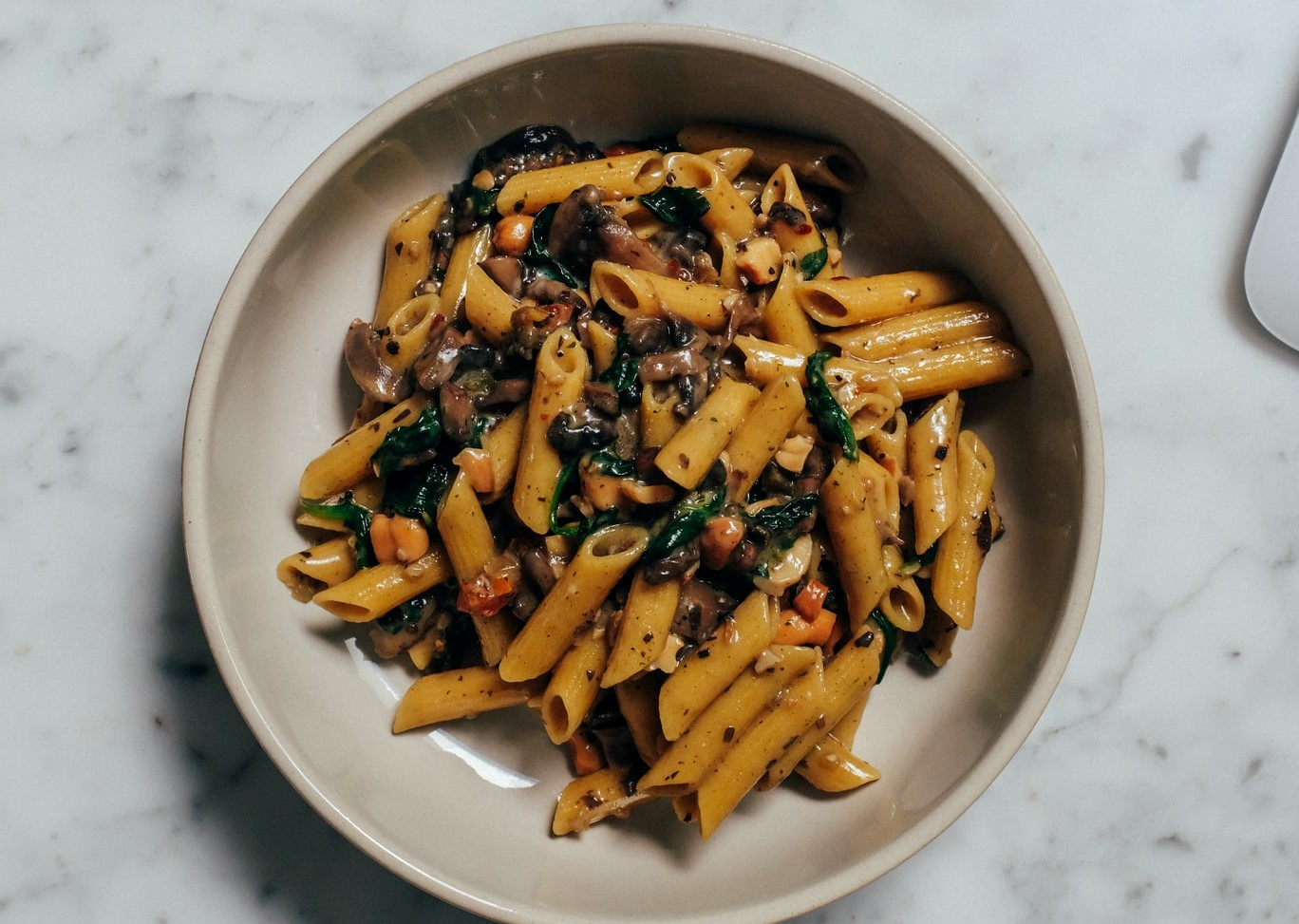 pasta funghi spinaci